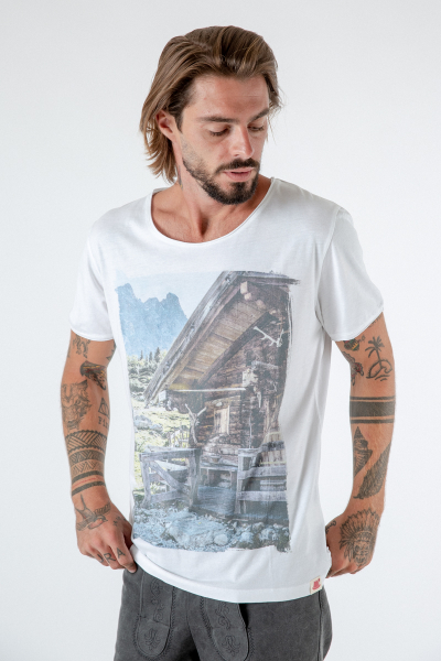 Herren T-Shirt Almhütte weiß