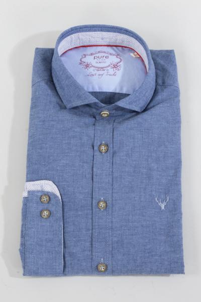 Pure Trachtenhemd C62605-21711 mittelblau