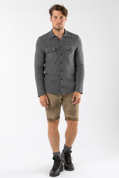 Strickhemd-Overshirt grau