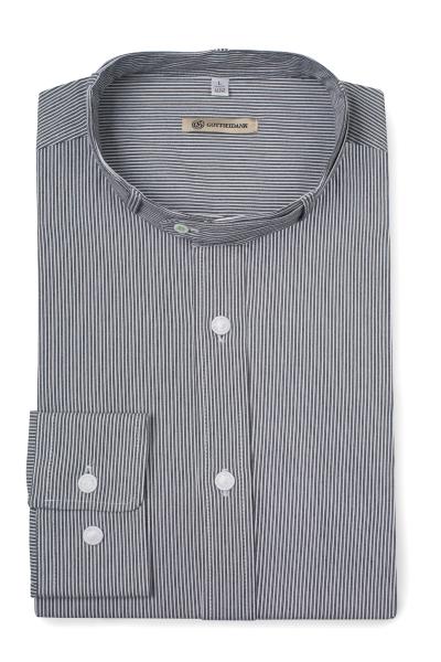 Gottseidank Hemd Lenz grau gestreift H18