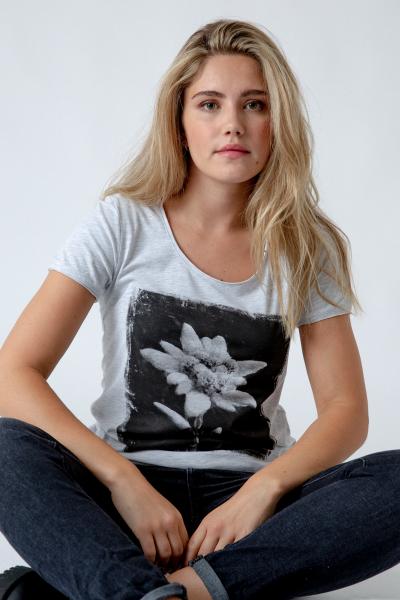Damen T-Shirt Edelweiß grau-melange