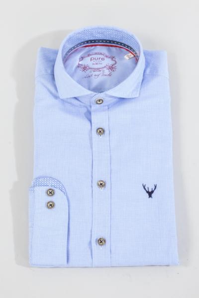 Pure Trachtenhemd C62609-21715 uni blau