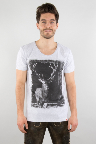 Vronikaa Herren T-Shirt Hirsch S1753202 grau
