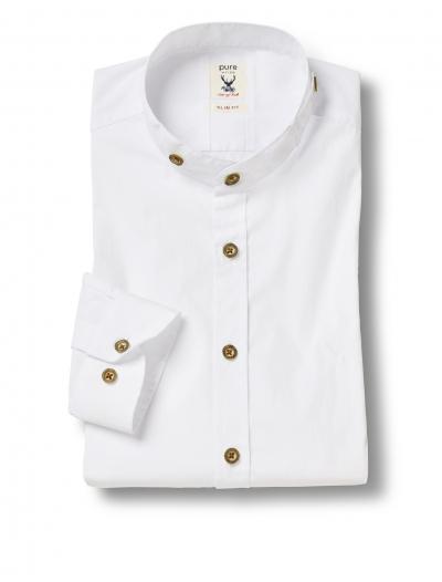 Pure Stehkragenhemd 500421615-900 weiß