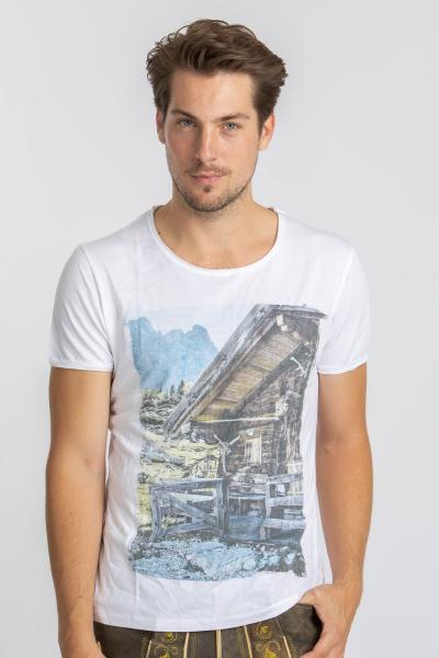 Vronikaa Herren T-Shirt Almhütte weiß
