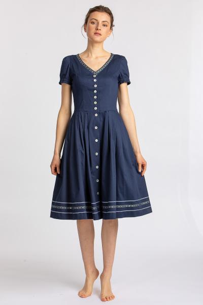 Trachtenkleid Halbarm blau 81565