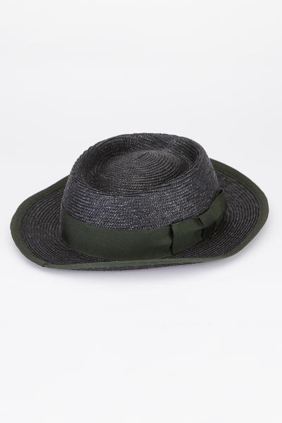Lembert Damen Bortenstroh Hut 8161 E schwarz