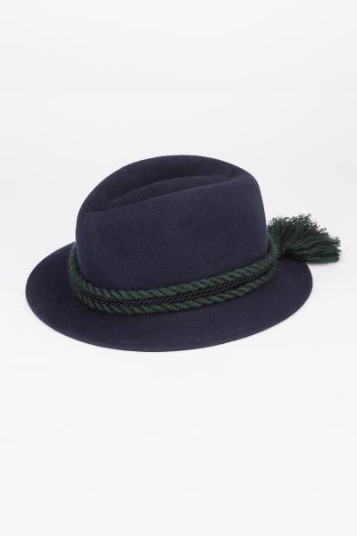 Breiter Damen Filzhut blau mit Kordel
