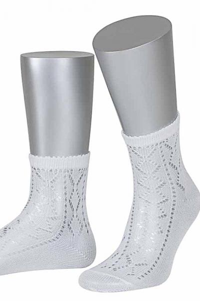 Lusana Damen Strümpfe L2630-26 weiß kurz