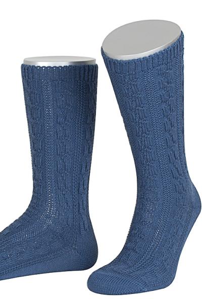 Lusana Herren Socken L5697-38 stahlblau