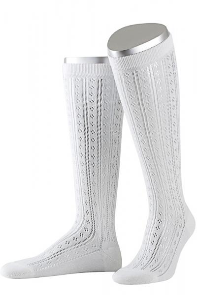 Lusana Damen Strümpfe L6665-26 weiß lang